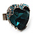 Teal Crystal Contemporary Heart Ring - view 7