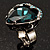 Teal Crystal Contemporary Heart Ring - view 4