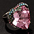 Pink Crystal Contemporary Heart Ring - view 6
