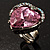 Pink Crystal Contemporary Heart Ring - view 4