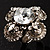 Vintage Four Petal Crystal Flower Cocktail Ring (Clear&Dim Grey) - view 4