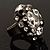 Diamante Dome Shaped Cocktail Ring (Clear&Jet-Black) - view 5