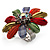 Large Multicoloured Acrylic Daisy Cocktail Ring (Silver Tone) - view 3