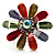 Large Multicoloured Acrylic Daisy Cocktail Ring (Silver Tone) - view 4