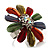 Large Multicoloured Acrylic Daisy Cocktail Ring (Silver Tone) - view 7