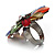 Large Multicoloured Acrylic Daisy Cocktail Ring (Silver Tone) - view 8