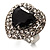 Jet-Black CZ Heart Cocktail Ring (Silver Tone) - view 5