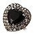 Jet-Black CZ Heart Cocktail Ring (Silver Tone) - view 3