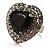 Jet-Black CZ Heart Cocktail Ring (Silver Tone)