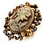 Vintage Filigree Cameo CZ Ring (Burnised Gold Tone) - view 1