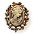 Vintage Filigree Cameo CZ Ring (Burnised Gold Tone) - view 3