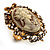 Vintage Filigree Cameo CZ Ring (Burnised Gold Tone) - view 4