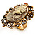 Vintage Filigree Cameo CZ Ring (Burnised Gold Tone) - view 6