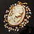 Vintage Filigree Cameo CZ Ring (Burnised Gold Tone) - view 2