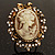 Vintage Filigree Cameo CZ Ring (Burnised Gold Tone) - view 7