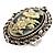 Vintage Floral Crystal Cameo Ring (Burnished Silver)
