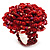 Red Glass Bead Flower Stretch Ring