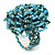 Light Blue Glass Bead Flower Stretch Ring