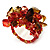 Brown & Red Semiprecious Chip Cluster Flex Ring - view 3
