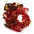 Brown & Red Semiprecious Chip Cluster Flex Ring - view 2