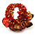 Brown & Red Semiprecious Chip Cluster Flex Ring - view 4