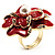 Stunning Red Enamel Crystal Flower Cocktail Ring (Gold Tone) - view 9