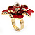 Stunning Red Enamel Crystal Flower Cocktail Ring (Gold Tone) - view 10