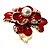 Stunning Red Enamel Crystal Flower Cocktail Ring (Gold Tone) - view 11