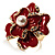 Stunning Red Enamel Crystal Flower Cocktail Ring (Gold Tone) - view 3