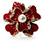 Stunning Red Enamel Crystal Flower Cocktail Ring (Gold Tone) - view 12