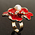 Stunning Red Enamel Crystal Flower Cocktail Ring (Gold Tone) - view 6