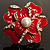 Stunning Red Enamel Crystal Flower Cocktail Ring (Gold Tone) - view 7