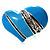 Light Blue Enamel Diamante Asymmetrical Heart Ring (Silver Tone)