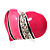 Bright Pink Enamel Diamante Asymmetrical Heart Ring (Silver Tone) - view 6