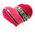 Bright Pink Enamel Diamante Asymmetrical Heart Ring (Silver Tone) - view 2