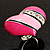 Bright Pink Enamel Diamante Asymmetrical Heart Ring (Silver Tone) - view 8