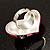 Bright Pink Enamel Diamante Asymmetrical Heart Ring (Silver Tone) - view 5