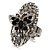 Oval Diamante Butterfly Ring (Silver Tone)