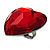 Large Red Acrylic Heart Cocktail Ring (Silver Tone) - view 1