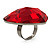 Large Red Acrylic Heart Cocktail Ring (Silver Tone) - view 3