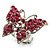 Silver Tone Pink Crystal Butterfly Ring - view 4