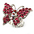 Silver Tone Pink Crystal Butterfly Ring - view 5
