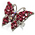 Silver Tone Pink Crystal Butterfly Ring - view 2