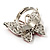 Silver Tone Pink Crystal Butterfly Ring - view 6