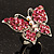 Silver Tone Pink Crystal Butterfly Ring - view 3