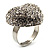 Clear Diamante Puffed Heart Ring (Silver Tone) - view 4