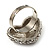 Clear Diamante Puffed Heart Ring (Silver Tone) - view 6