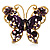 Large Aubergine Enamel Butterfly Ring (Gold Tone)