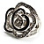 Open Crystal Rose Fashion Ring (Rhodium Plated Finish)