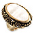 Antique Gold Shell Crystal Chunky Ring - view 5